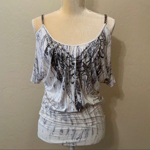 MM Unplugged Miss Me Cold Shoulder Chain Boho Top